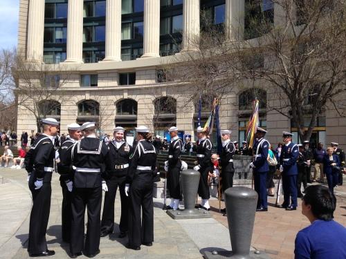 Sailors at the Navy Memorial